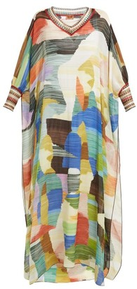 Missoni Paint-print Knitted-trim Silk Dress - Womens - Cream Multi
