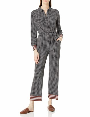 Donna Morgan Women's Long Sleeve Stretch Crepe Self Tie Cropped Jumpsuit
