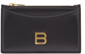 Balenciaga Hourglass Zipped Leather Cardholder - Black
