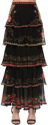Etro Printed Silk Chiffon & Ruffled Skirt