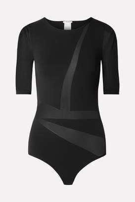 Wolford Sail Tulle-paneled Jersey Thong Bodysuit - Black