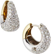 Estate Jewelry Estate 18K White and Yellow Pave Diamond Huggie Earrings
