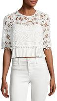 French Connection Freddy Lace Short-Sleeve Crop Top, White