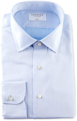 Lorenzo Uomo Men's Stitch Stripe Dress Shirt