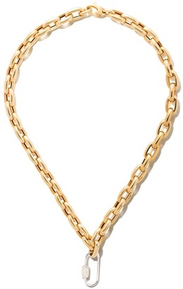 """As 29 18kt White Gold Diamond Medium Oval Carabiner And 18kt Yellow Gold 18"""" Bold Links Chain Necklace"""