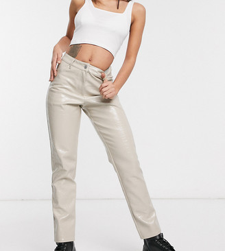 Collusion leather look snake pants in beige