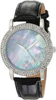 Akribos XXIV Women's AK580BK Lady Diamond Swiss Quartz Diamond Dial Leather Strap Watch