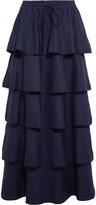Valentino Tiered linen maxi skirt