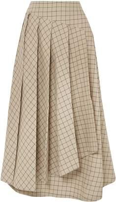 Awake Pleated Checked Cotton Midi Skirt