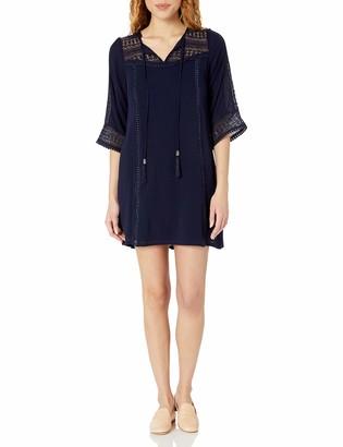 Sandra Darren Women's Sleeveless Gauze Tassel Shift Dress