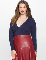 ELOQUII Plus Size Long Sleeve Deep V Bodysuit