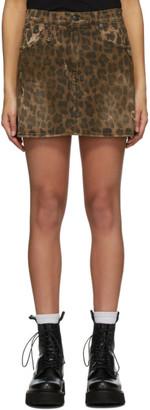 R 13 Brown Denim Leopard Miniskirt