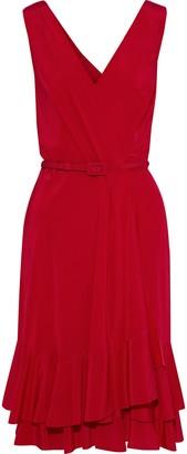 Carolina Herrera Wrap-effect Ruffled Silk Crepe De Chine Dress