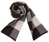 PENAGY Men Winter Superior Woollen Fashion Scarves Warm Grid Scarf Shawl-Black&Coffee