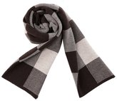 PENAGY Men Winter Superior Woollen Fashion Scarves Warm Grid Scarf Shawl-Black&Gery