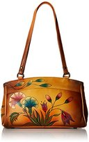 Anuschka Handpainted Leather 8056-TKG Double Entry Satchel-Turkish Garden Shoulder Bag