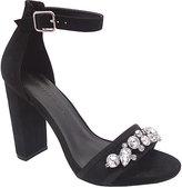 Wild Diva Black Embellished-Strap Morris Sandal