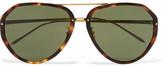 Linda Farrow Aviator-Style Acetate And Gold-Tone Sunglasses