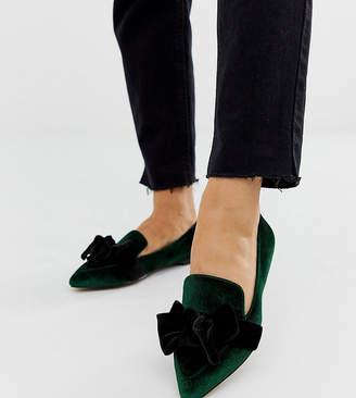 Asos Design DESIGN Wide Fit Ludo bow pointed ballet flats in green velvet