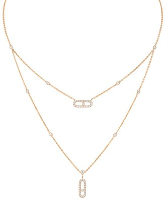 Messika Move Classic 18K Rose Gold & Diamond Pave Two-Row Pendant Necklace