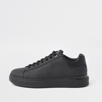 River Island Mens Black lace-up wedge sole trainers