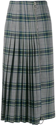 Cédric Charlier Pleated Plaid Skirt