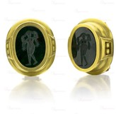 Kieselstein-Cord Kieselsein-Cord 18K Yellow Gold Green Agate Intaglio Earrings