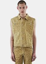 Telfar Men's Sleeveless Embroidered Denim Vest In Sand