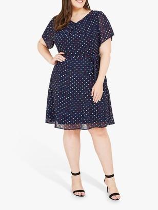 Yumi Curves Retro Spot Print Skater Dress, Navy