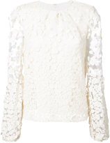 Co dot pattern transparent sleeve blouse