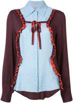 Preen by Thornton Bregazzi panelled ruffle trim shirt - women - Viscose - S