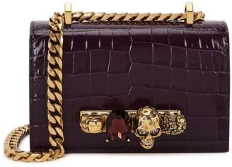 Alexander McQueen Jewelled Satchel mini plum leather shoulder bag