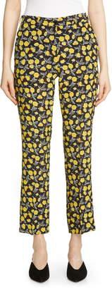 Etro Poppy Print Crop Silk Pants