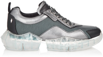 Jimmy Choo DIAMOND/M Grey Mesh and Leather Mix Trainers with Chunky Platform