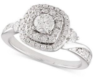 Macy's Diamond Double Halo Engagement Ring (1 ct. t.w.) in 14k White Gold