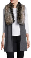 Splendid Faux Fur-Trimmed Knit Vest