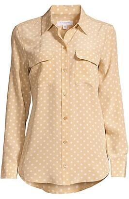 Equipment Signature Slim-Fit Polka Dot Silk Shirt