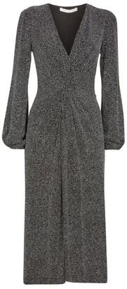 Jonathan Simkhai Glitter Jersey Twist Front Midi Dress