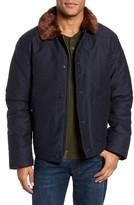 Schott NYC Men's Faux Fur Collar Water-Repellent Corduroy Down Jacket