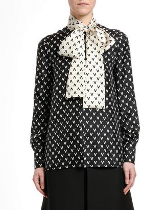 Valentino Silk Logo-Print Tie-Neck Blouse