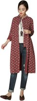 Mordenmiss Women's Spring/Fall Chinese Frog Buttons Trenchcoat Floral Print Clothing Rudty Red