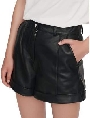 Maje Ilord Cuffed Leather Shorts