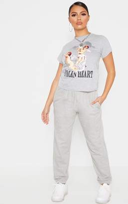 PrettyLittleThing Petite Grey Marl Casual Trouser