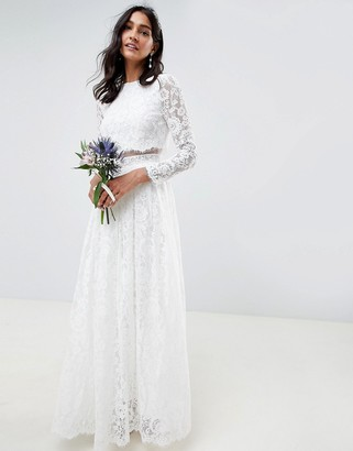 Asos Edition EDITION lace long sleeve crop top maxi wedding dress