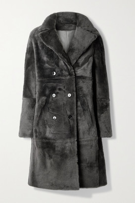 Yves Salomon Lacon Double-breasted Shearling Coat - Charcoal