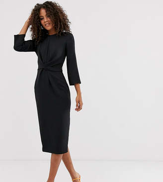 Asos Tall DESIGN Tall tie wrap around midi dress-Black