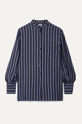 Co Striped Silk-crepe Shirt - Navy