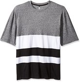 Southpole Men's Big and Tall Short Sleeve Marled Cut and Sewn T-Shirt with Color Blocks