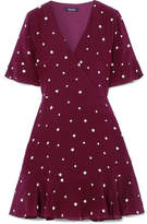 Madewell Printed Silk Mini Dress - Burgundy