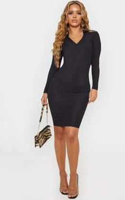 PrettyLittleThing Petite Black Ribbed Polo Long Sleeve Midi Dress